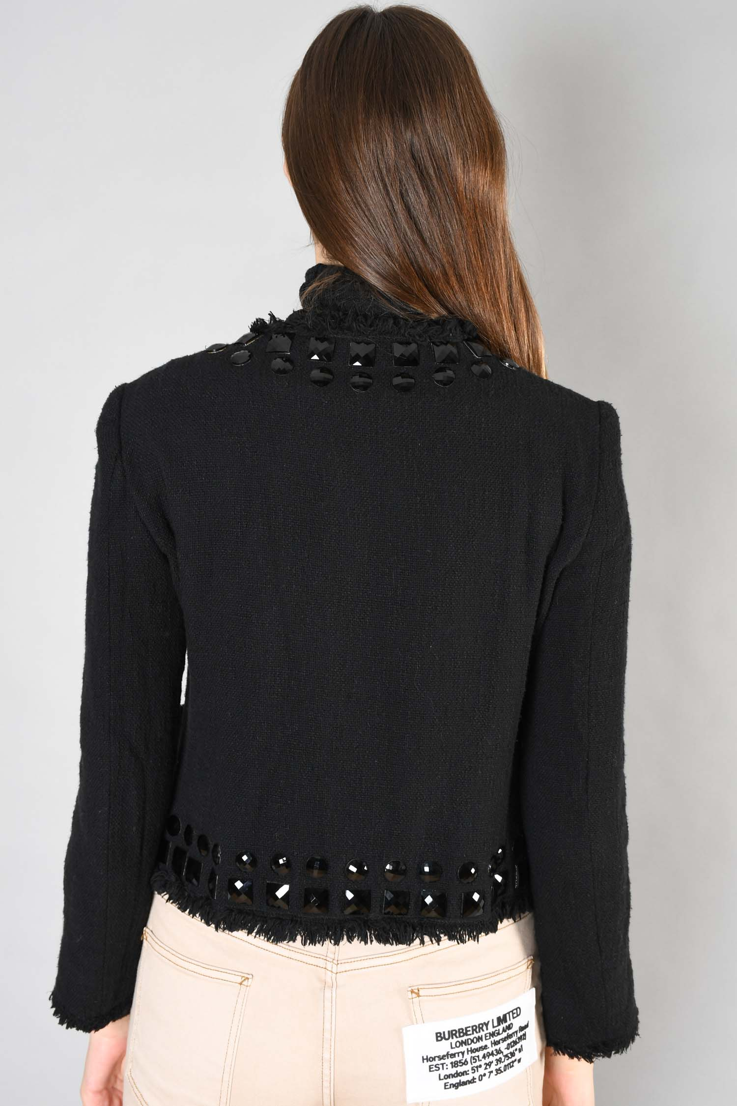 Moschino Cheap and Chic Black Embellished Jacket Size 12 US