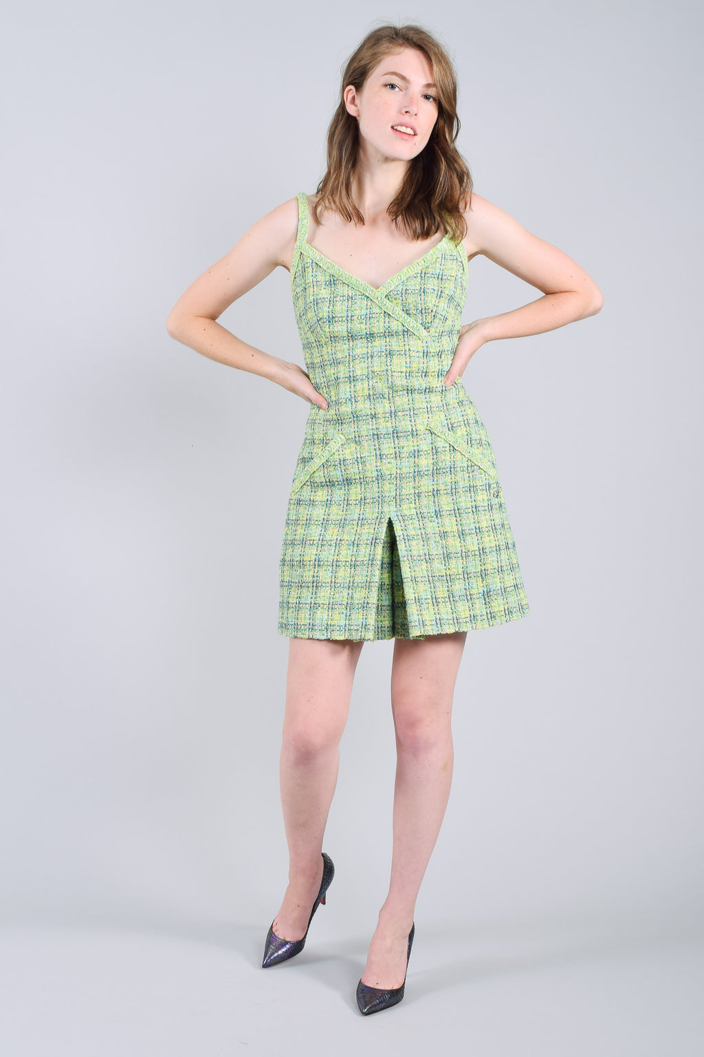 Chanel Green and Blue Tweed Romper Size 38