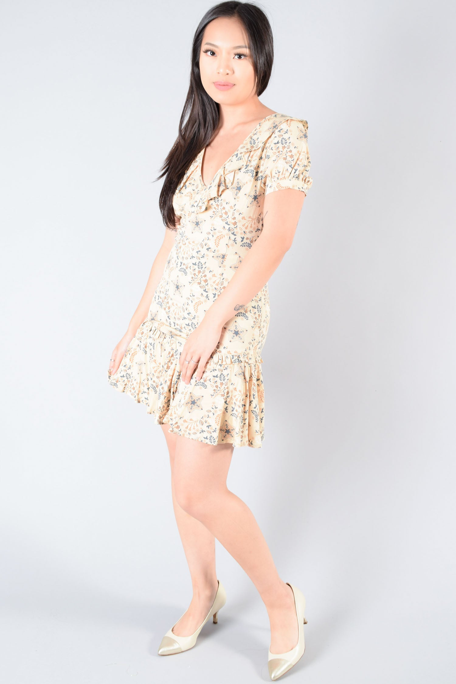 Spell & The Gypsy Cream Paisley Print Lace-Up Dress Size XS