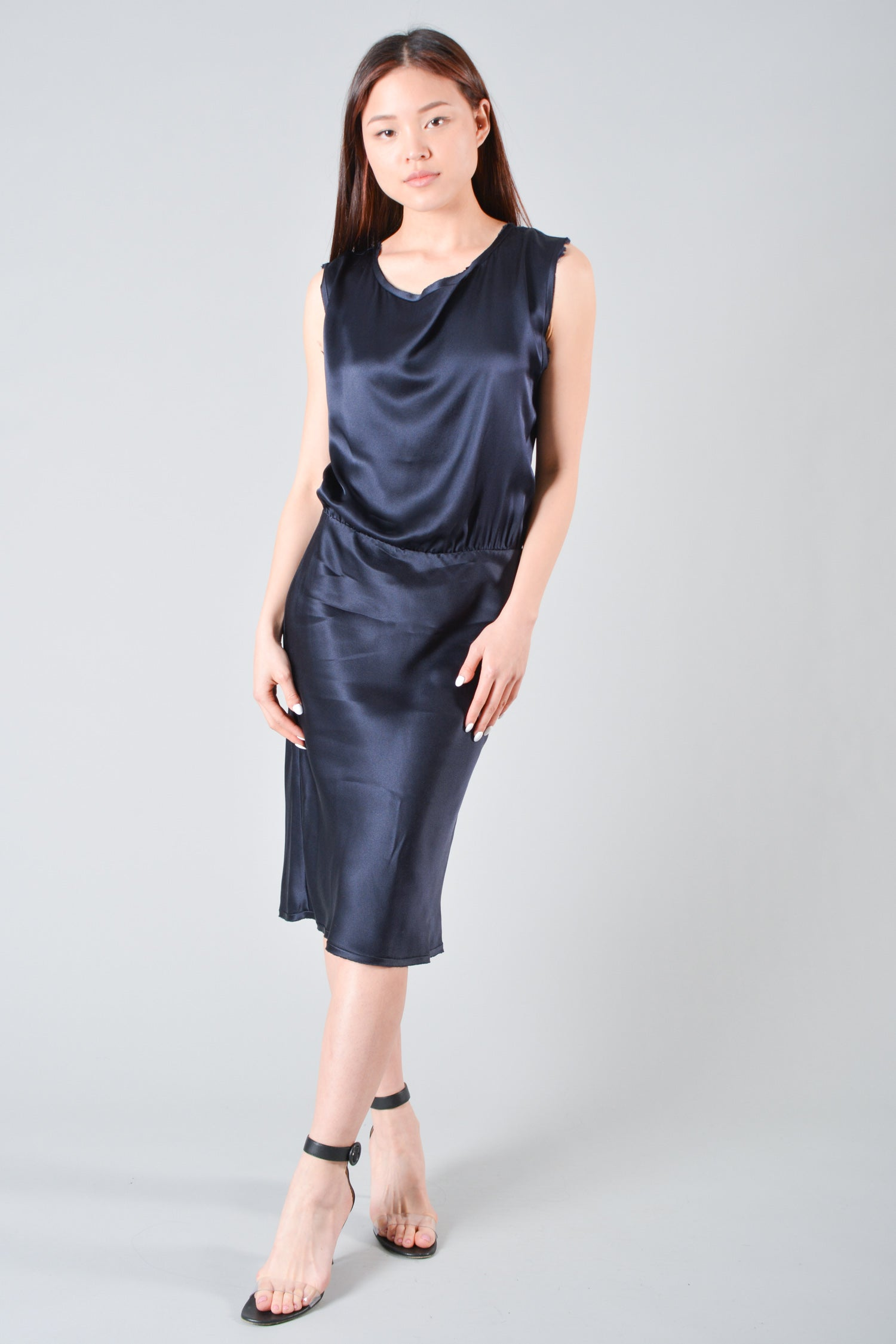 Nili Lotan Navy Sleeveless Silk Dress Size XS