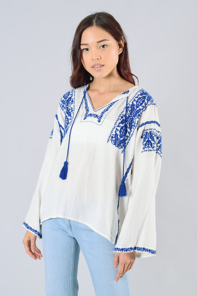Isabel Marant Etoile Blue White Embroidered Top Size 36