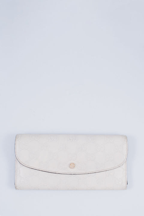 Gucci Cream Leather Monogram Wallet