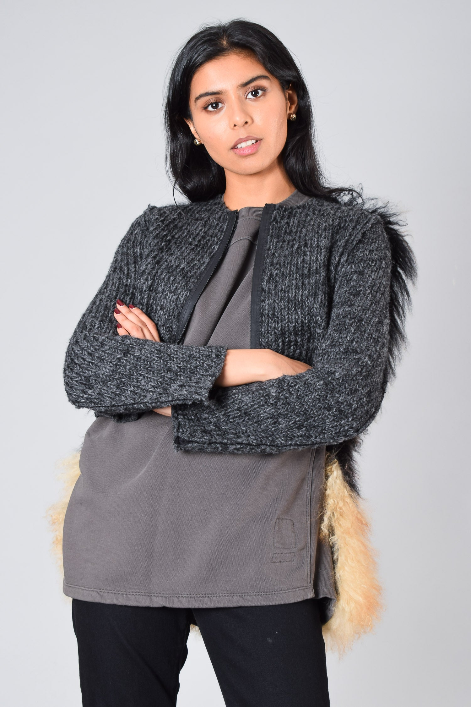 Hache Grey Wool Jacket With Fur Size 40