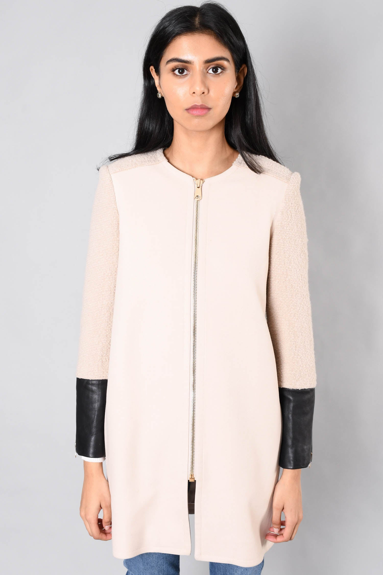 Club Monaco Cream Faye Coat w/ Leather Cuffs Size XS