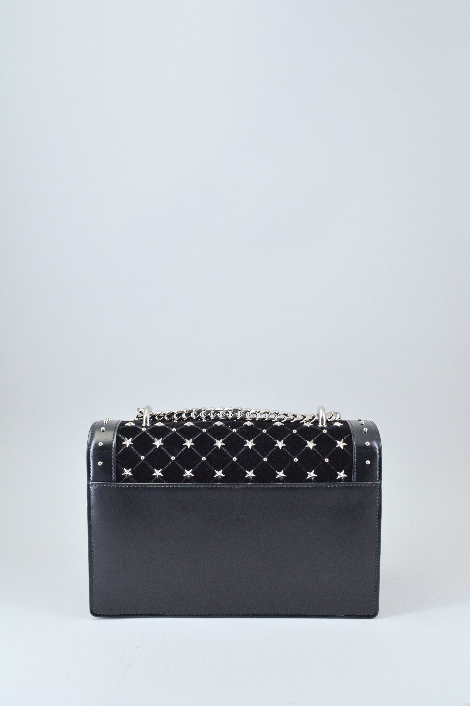 Balmain Black Velvet Studded Box Bag