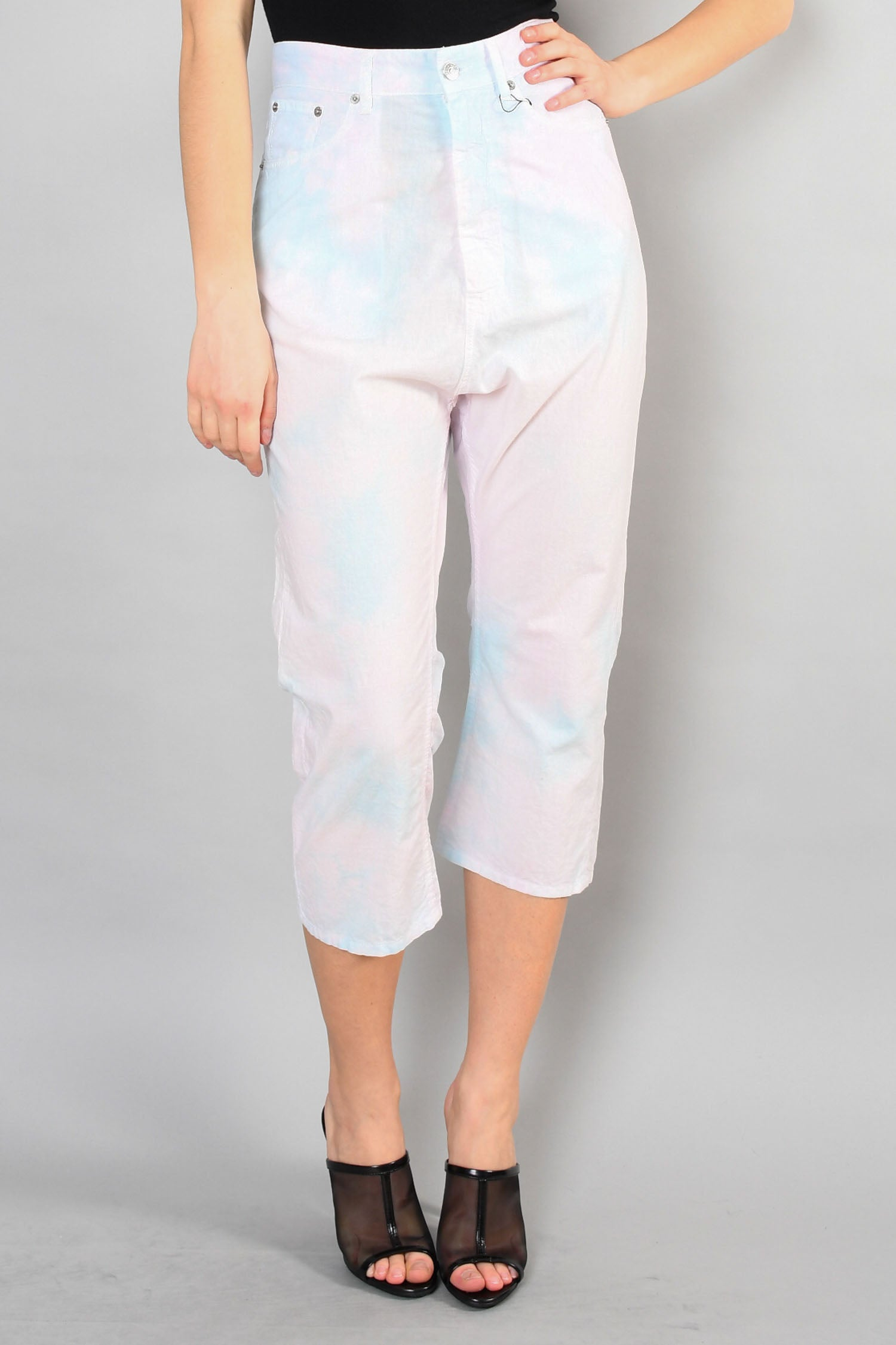 Maison Martin Margiela Blue and Pink Tie Dye Oversized Pants Size 38