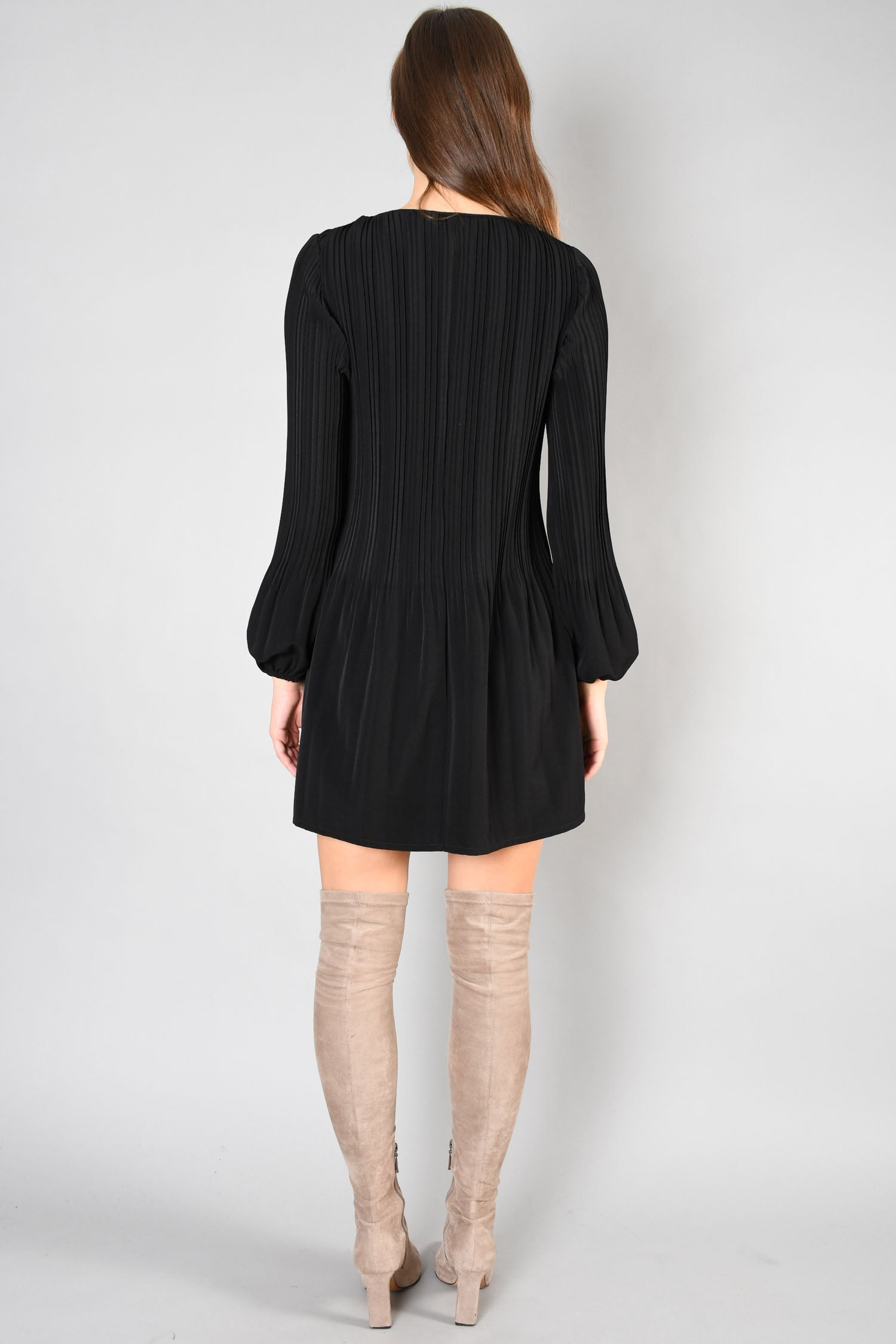 Maje Black Pleated L/S Dress Size 1