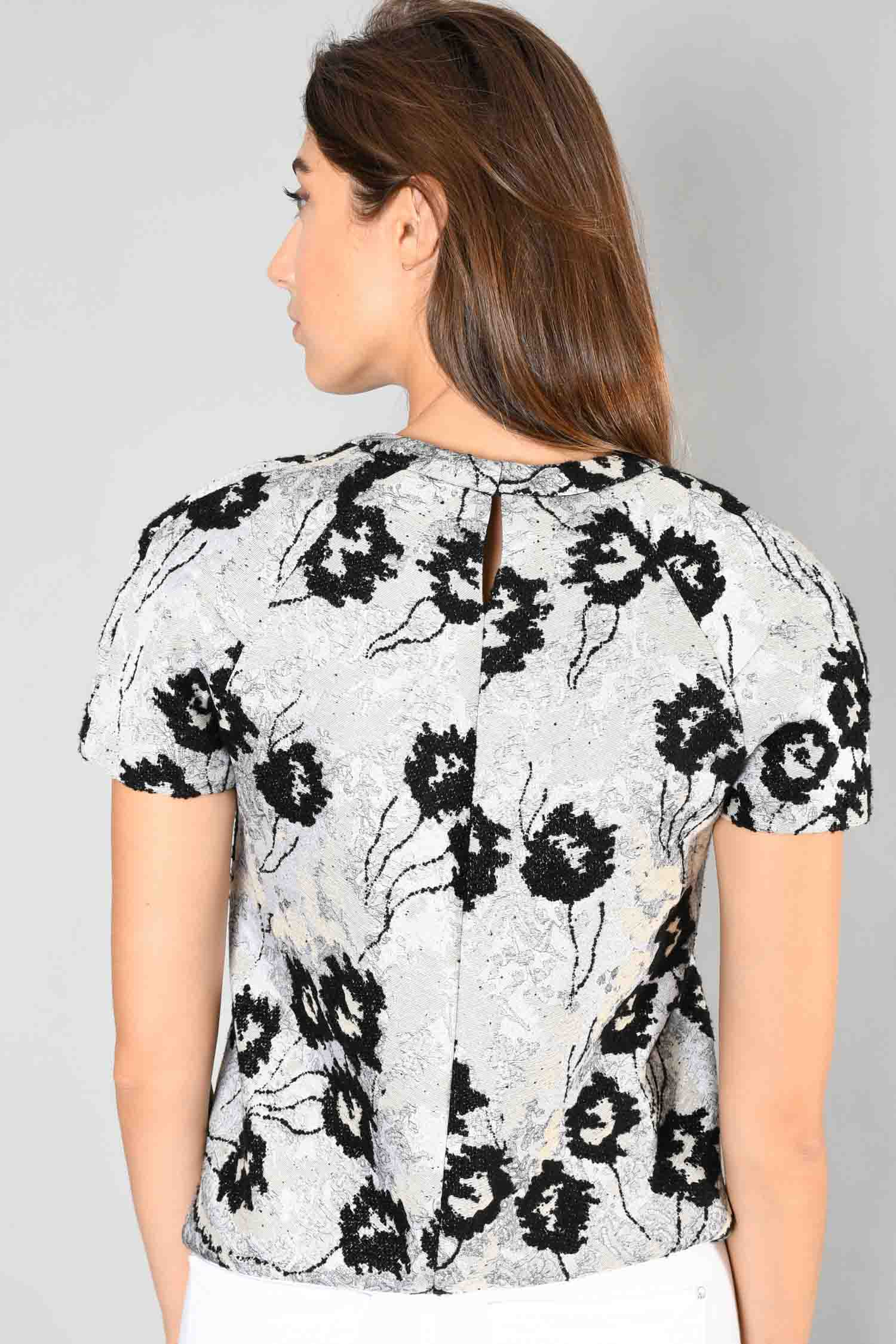 BCBG Runway Grey/Black Embroidered Top Size XS
