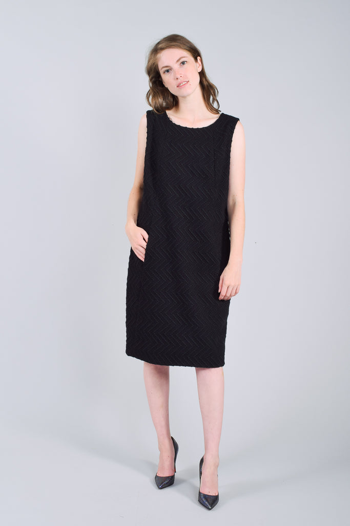 Chanel Black Sleeveless Wool Embroidered Dress Size 42