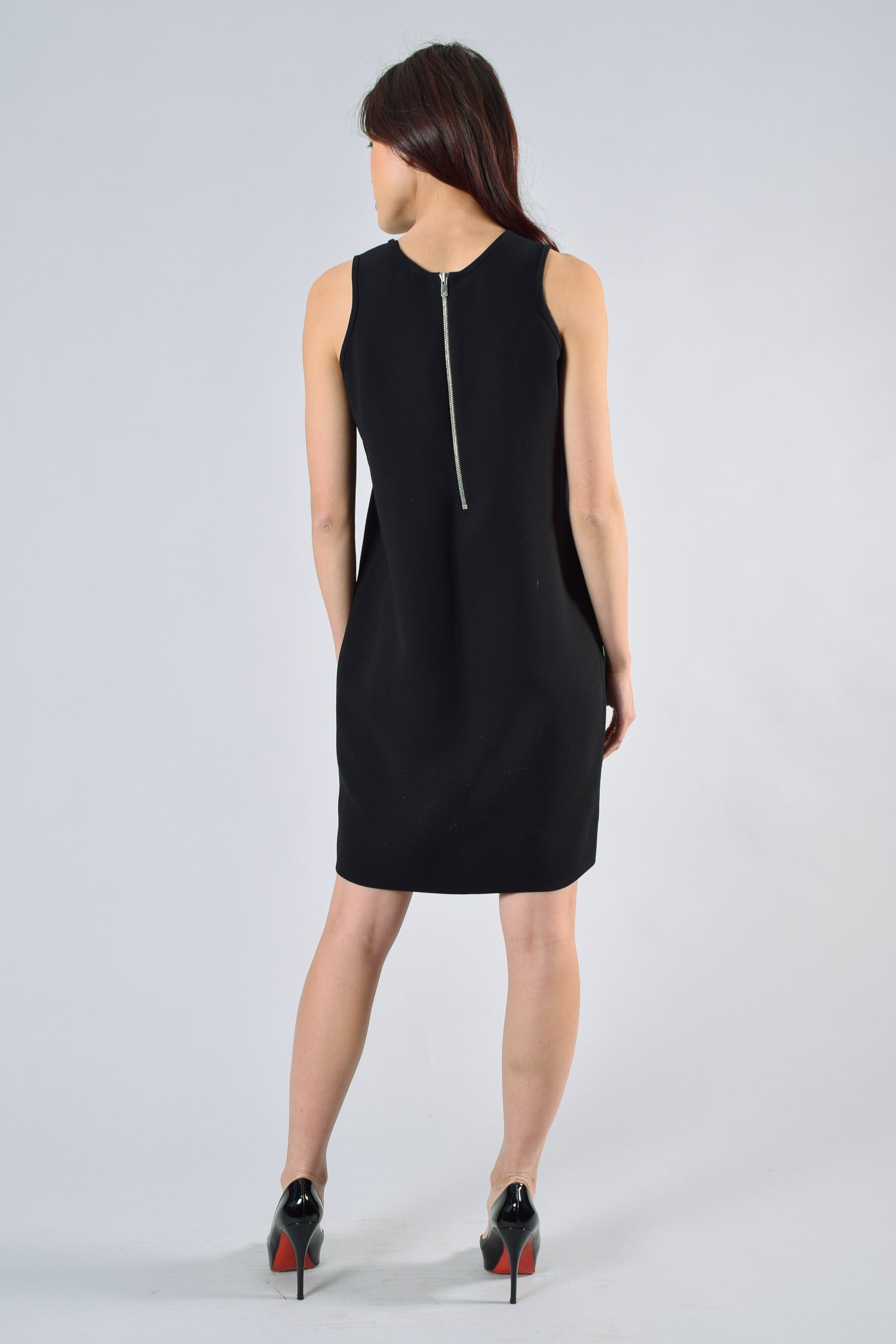 Sandro Black Dress With Silver Beaded Collar Size 2