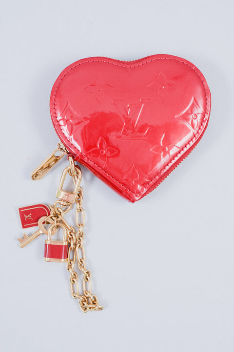 Louis Vuitton Red Patent Monogram Heart Shaped Coin Pouch