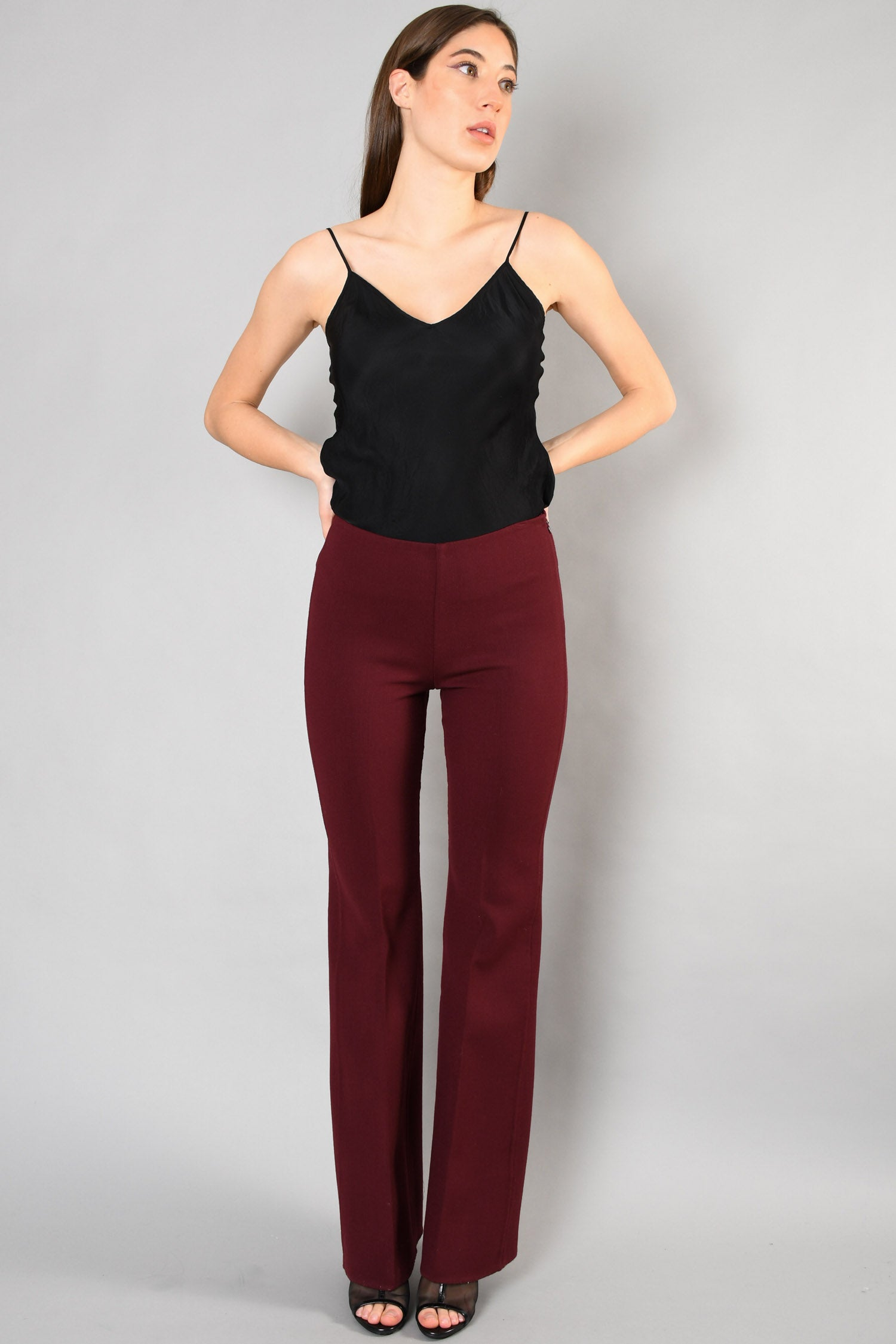 Theory Burgundy Wide-Leg Pants Size 4