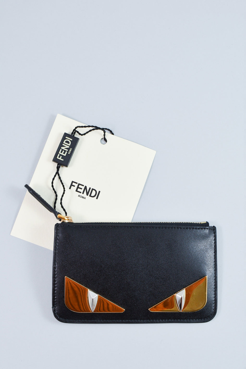 Fendi Black Leather Monster Key Pouch NWT