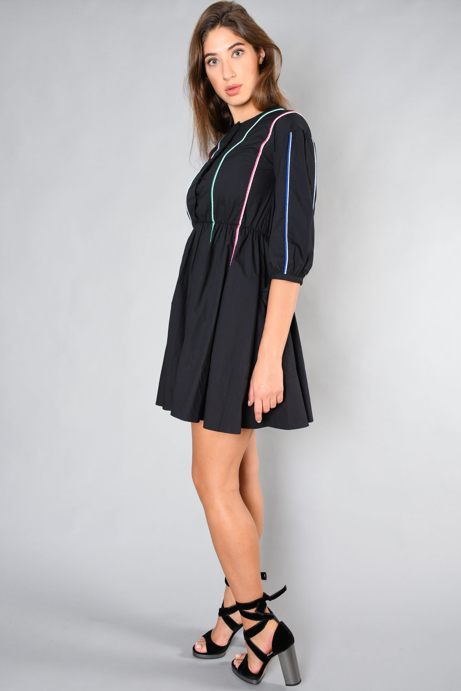 Maje Black L/S Dress w/ Colour Stripe Detail Size 1