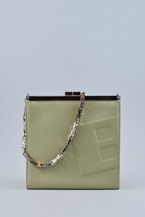 Bally B Embossed Green Shoulder Chain Handle Bag