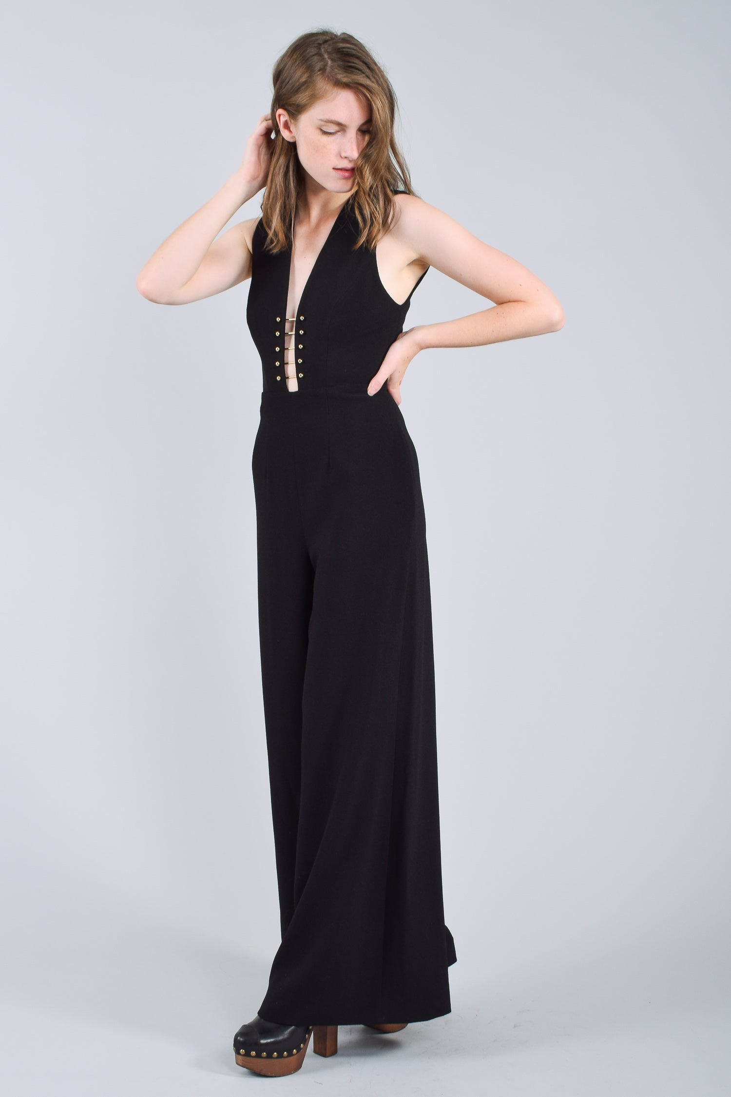 Zimmermann Black Wide-Leg High-Rise Jumpsuit Size 0