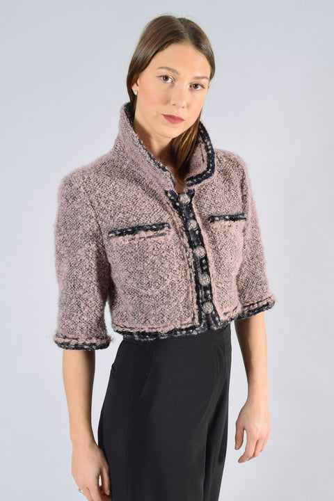 Chanel Pink/Black Mohair Cropped Jacket Size 40