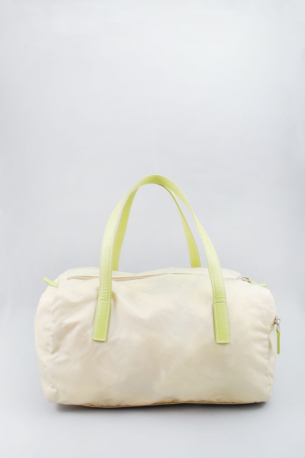 Prada Cream Nylon Bag w/ Green Handle