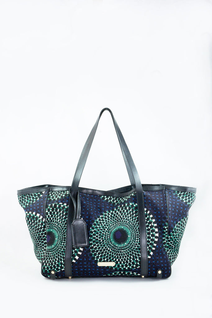 Burberry Blue and Green Canvas Tote