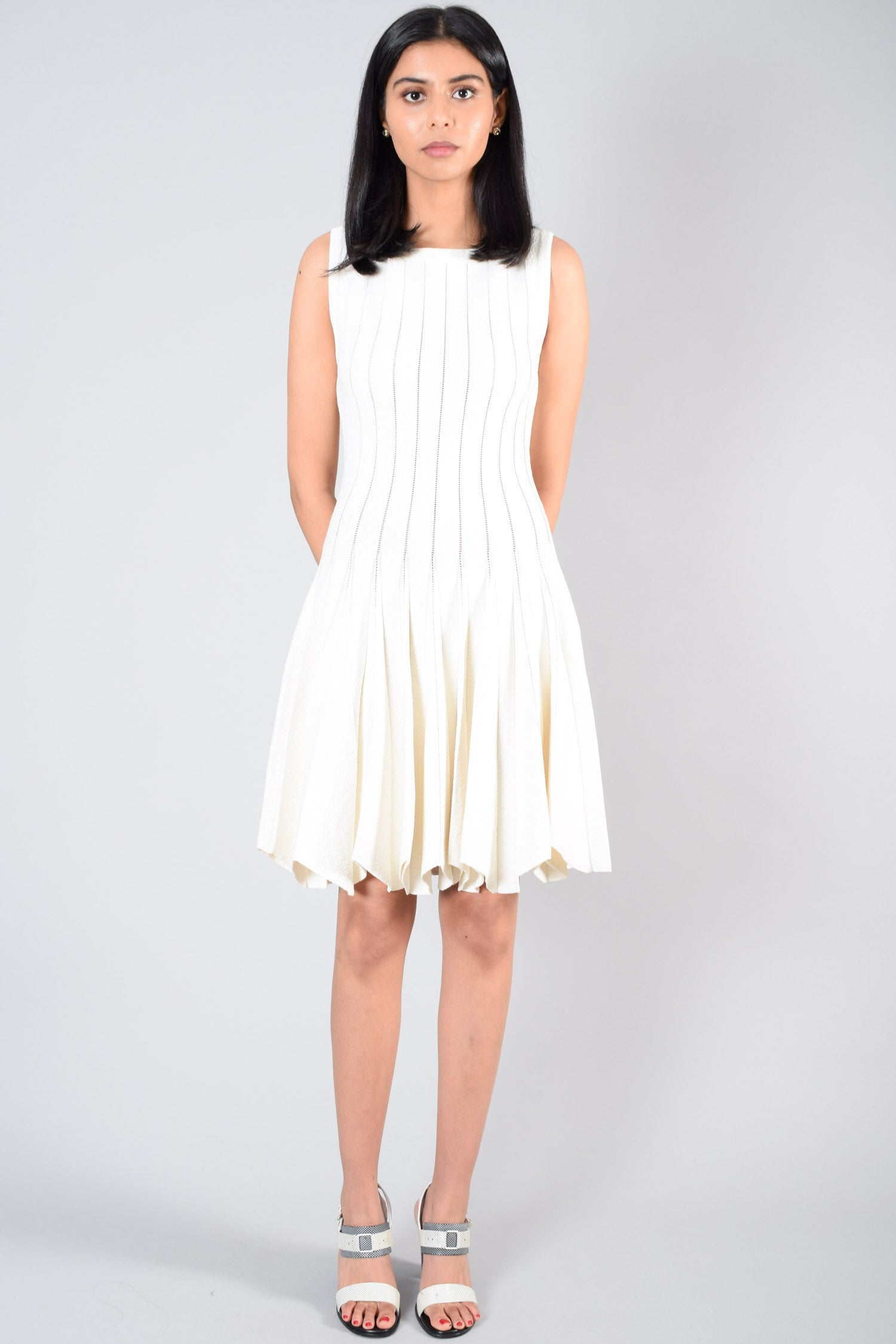 Alaia Vintage Cream Textured Sleeveless Dress Size S (Missing Tag)