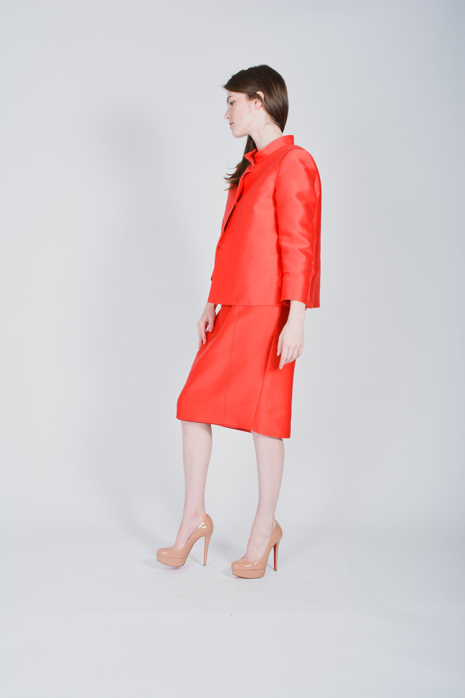 Red Max Mara Silk Blend Skirt Suit Size 10