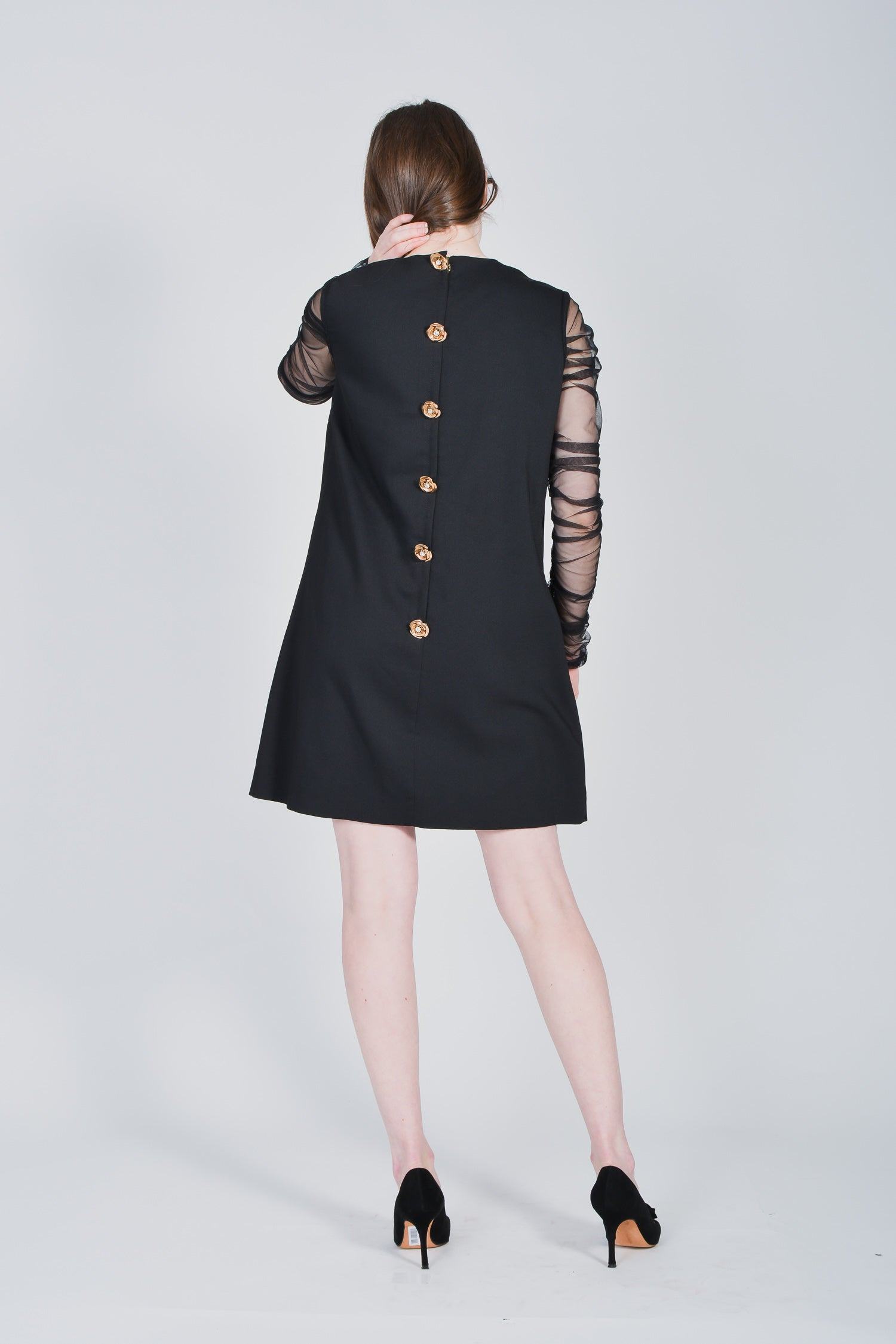 Moonaa Liisaa Black L/S Dress with Gold Embelishments Size L