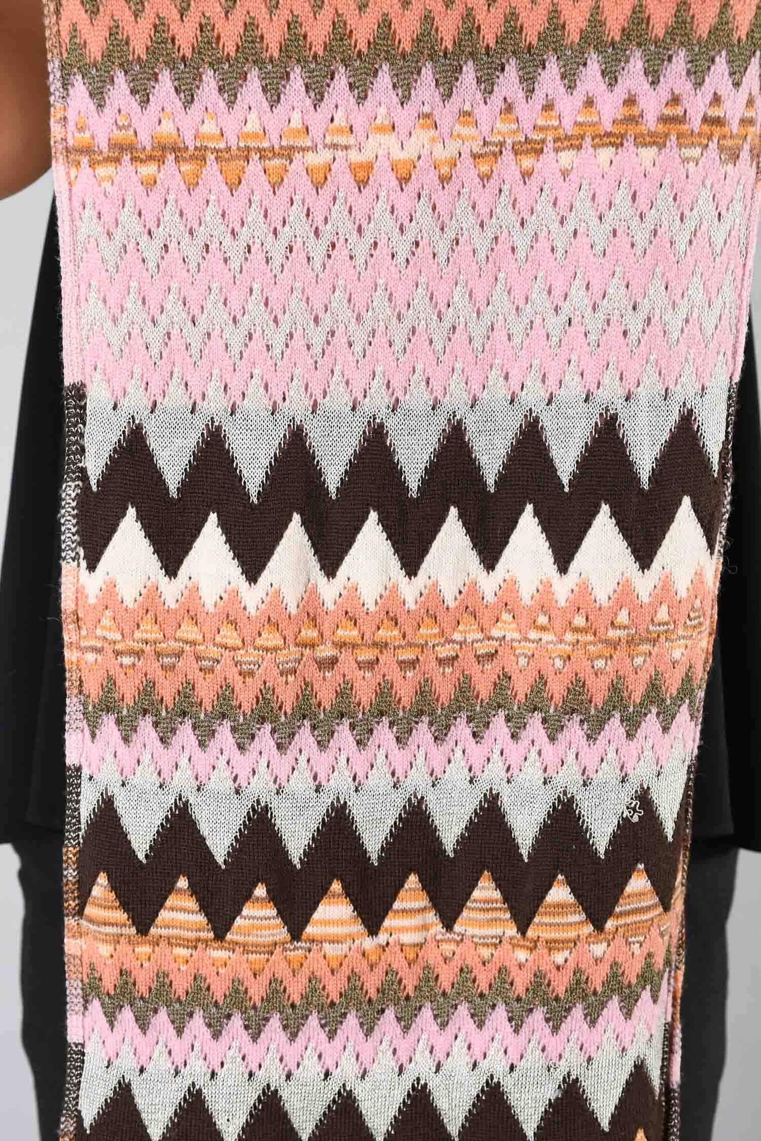 Missoni Pink/Brown Wool Pattern Scarf