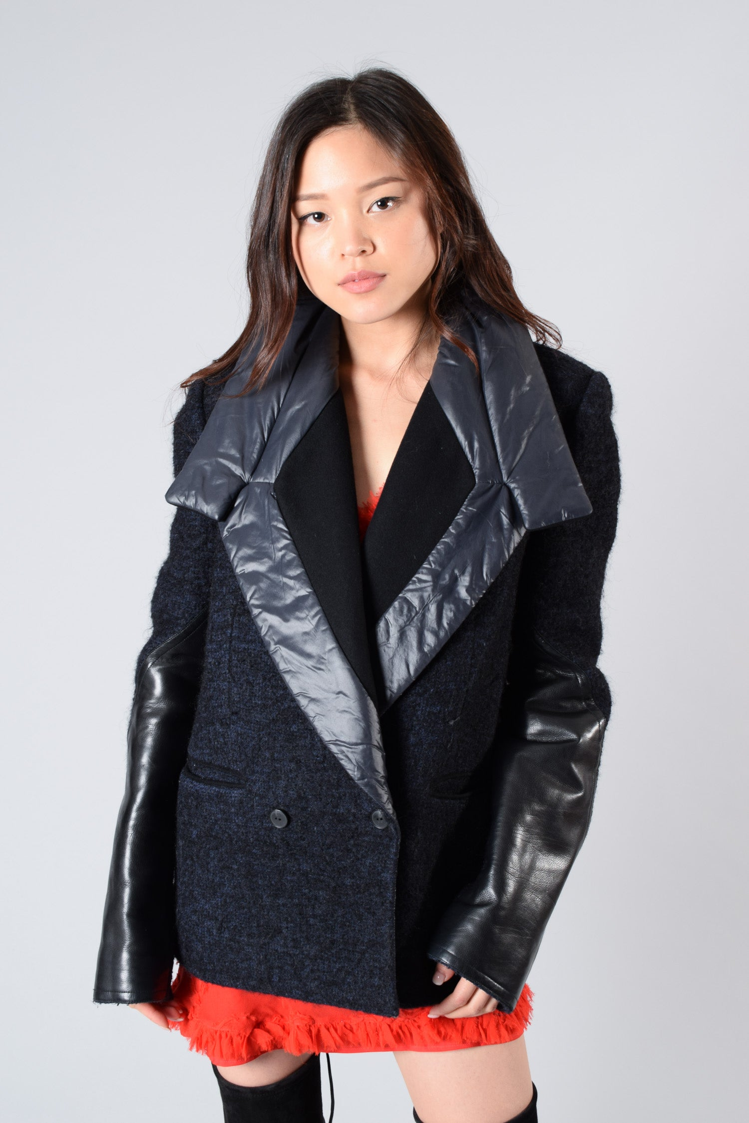 Alexander Wang Wool/Leather Coat Size M