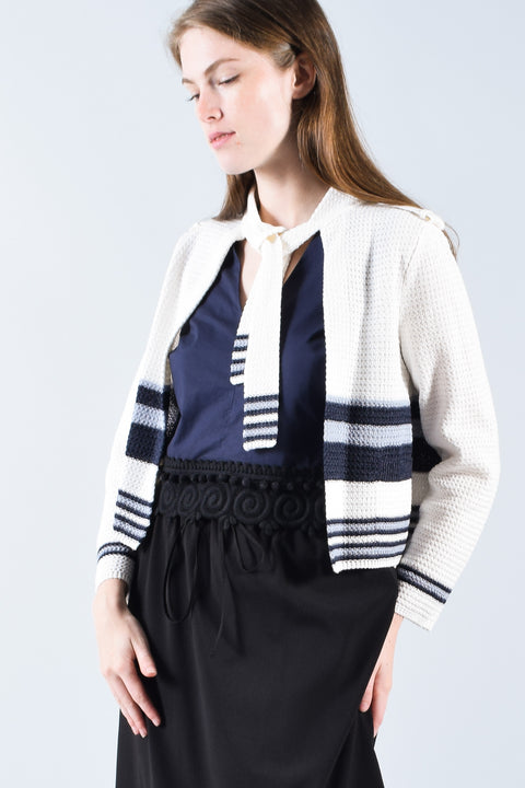 Chanel White Knit L/S Jacket w/ Navy Stripes Size 36