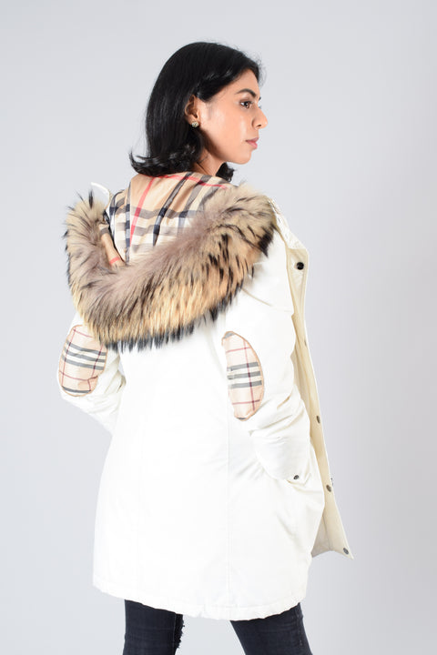 Burberry White Puffer Jacket w/ Fur Hood Size S