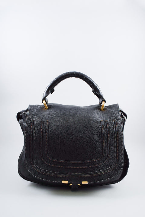 Chloe Black Leather Large Marcie w/ Brown Stitching