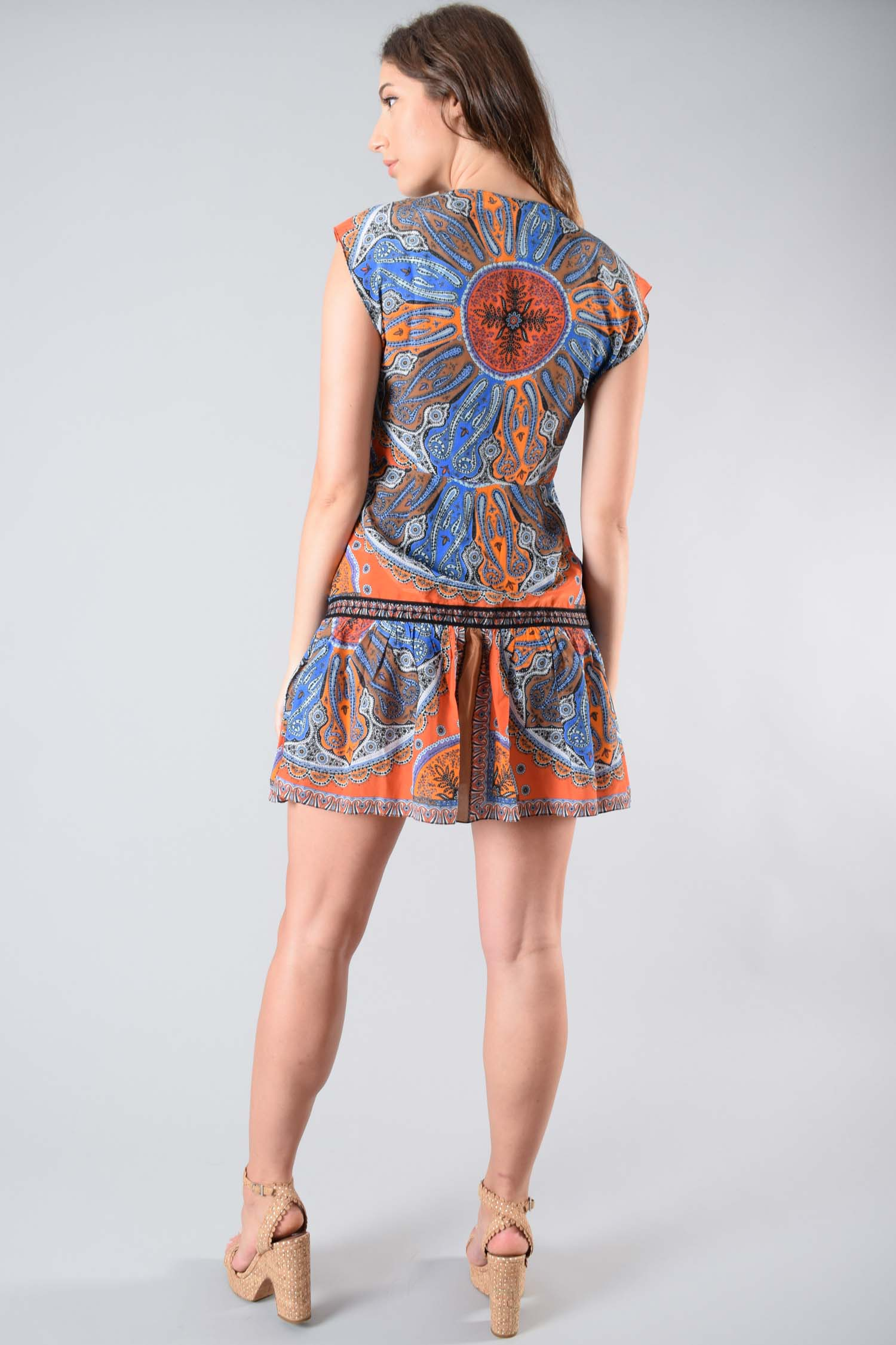 Sandro Orange Paisley Print Sleeveless Dress Size 38