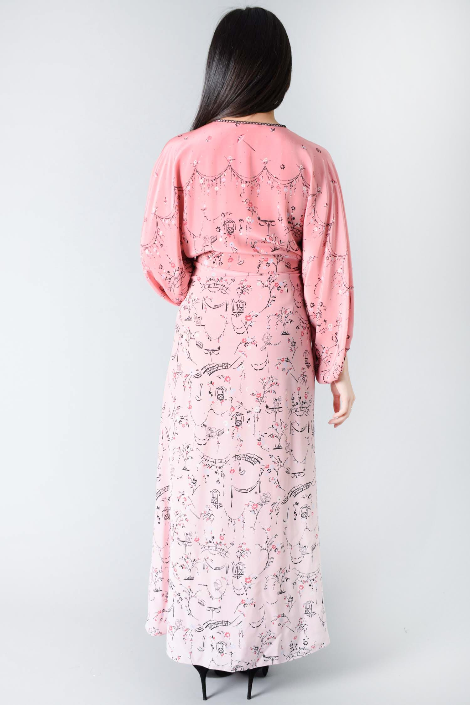 Vilshenko Pink Ombre Printed Floral Quarter-Length Sleeve Dress Size 10