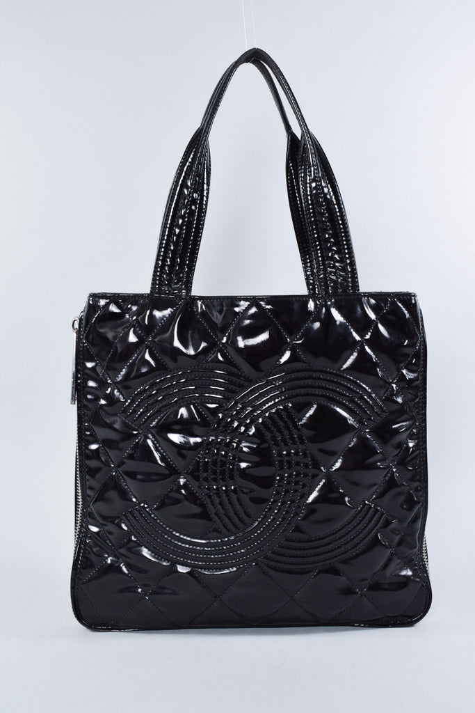 Chanel Black Patent Quilted Tote