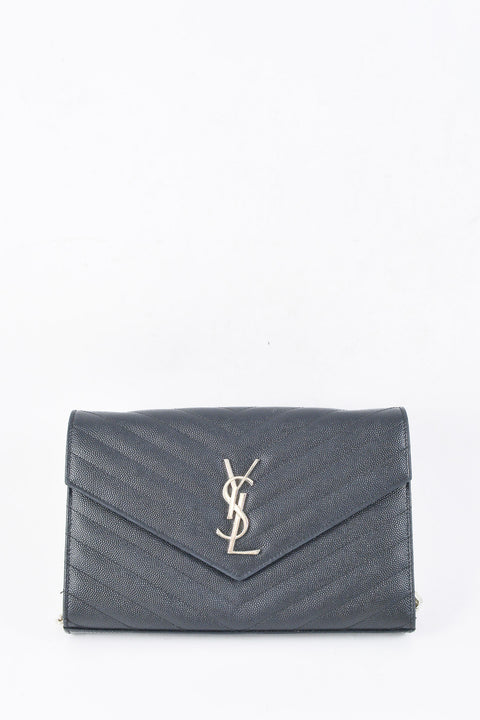 Yves Saint Laurent Black Chevron Monogram Wallet on Chain