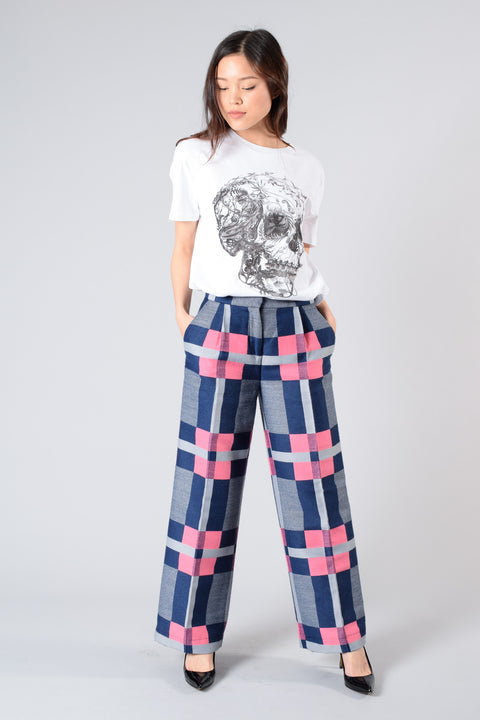 MSGM Navy/Pink Printed Straight-Leg Pants Size 38