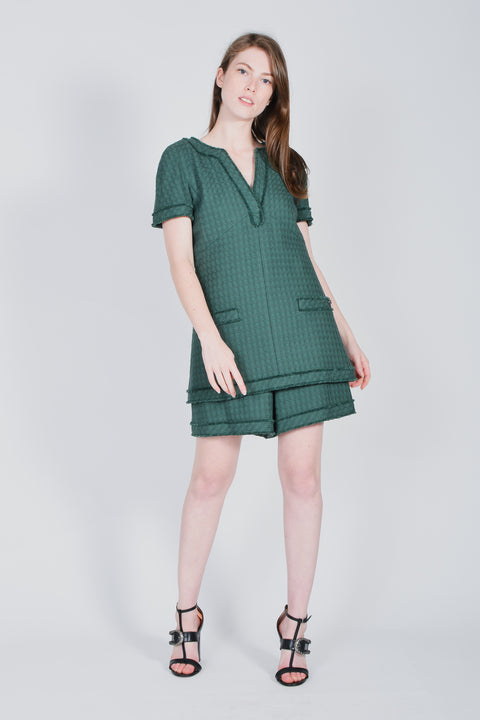 fd270fadc89 Chanel Green Cotton Linen Size 38 Short Dress