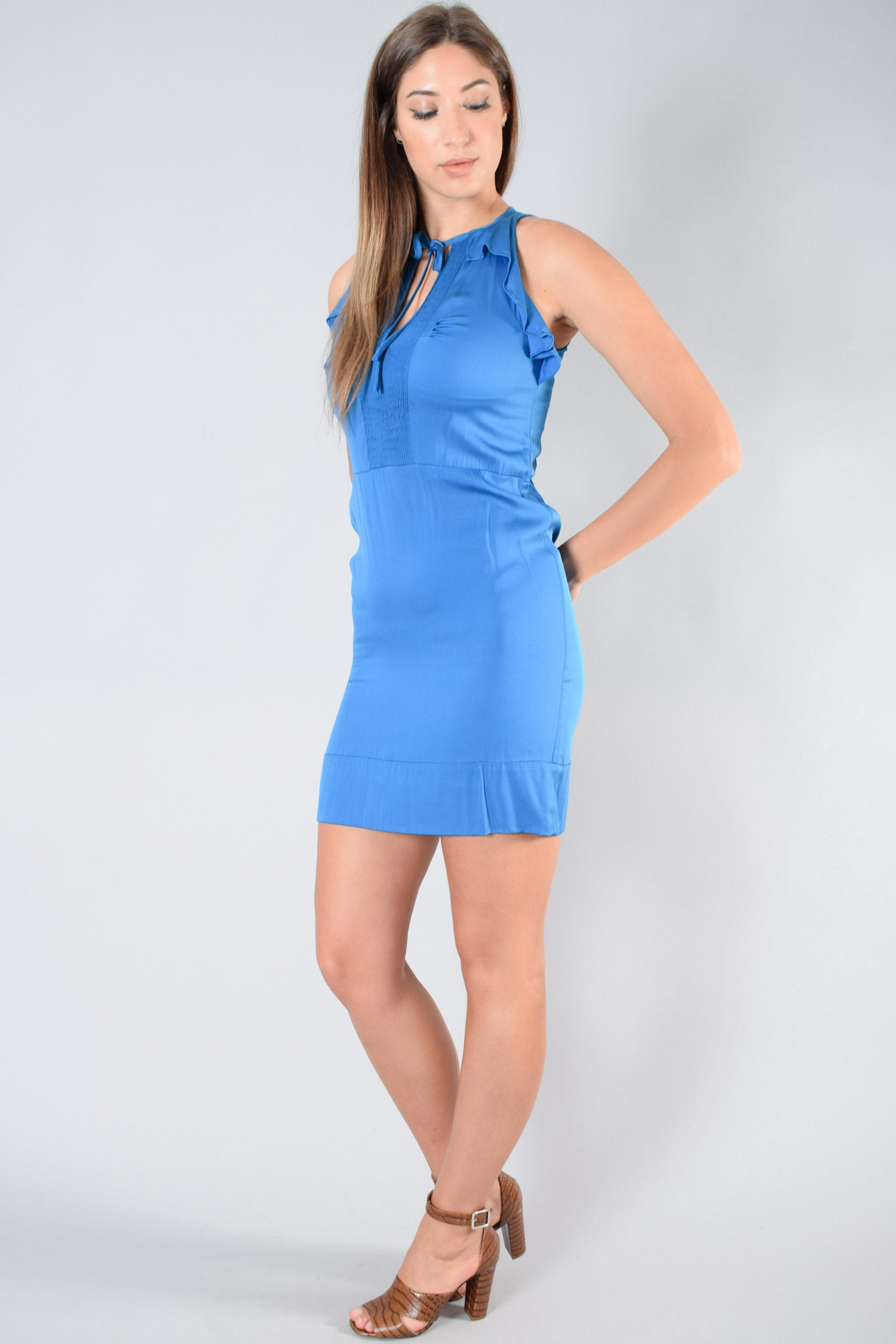 Diane von Furstenberg Blue Silk V-Neck Dress Size 4
