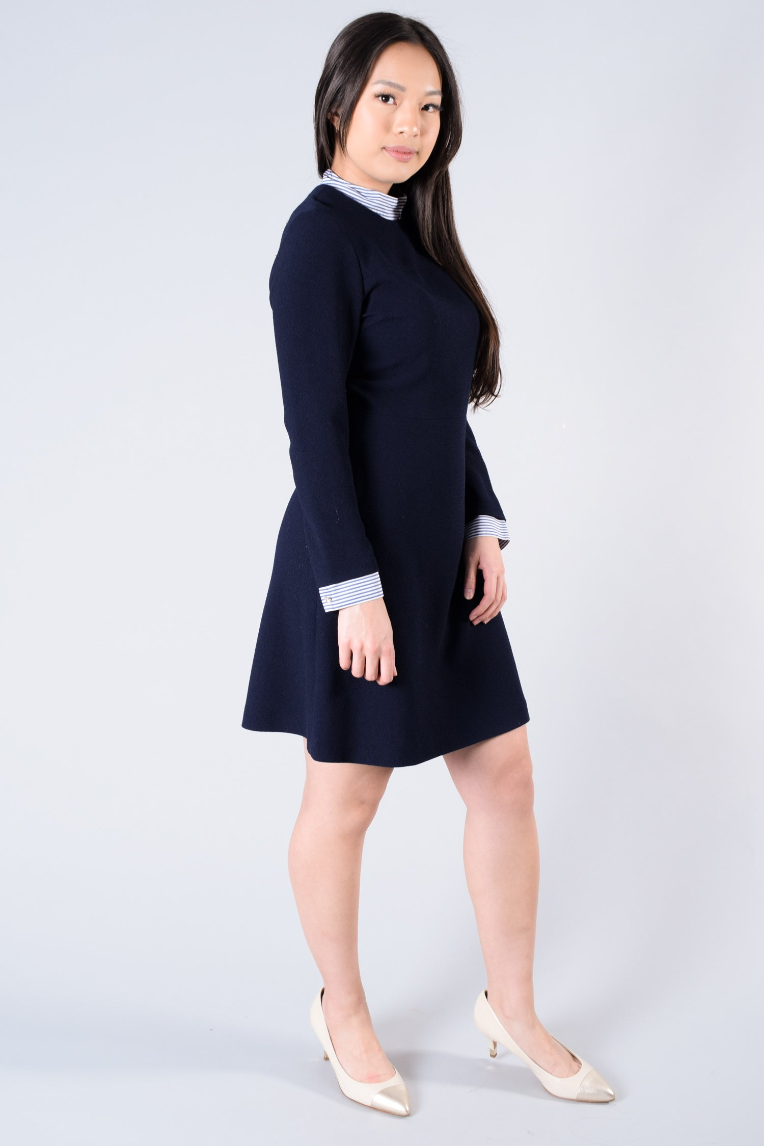 Sandro Navy L/S Dress w/ Striped Cuffs & Collar Size 2