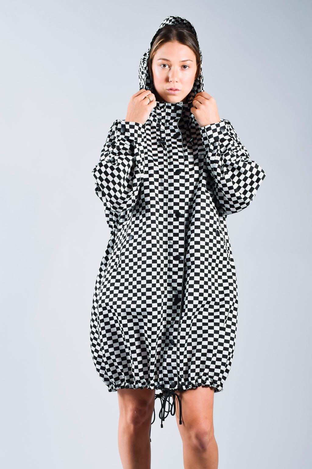 Christian Dior Black & White Checkered Raincoat Size 2