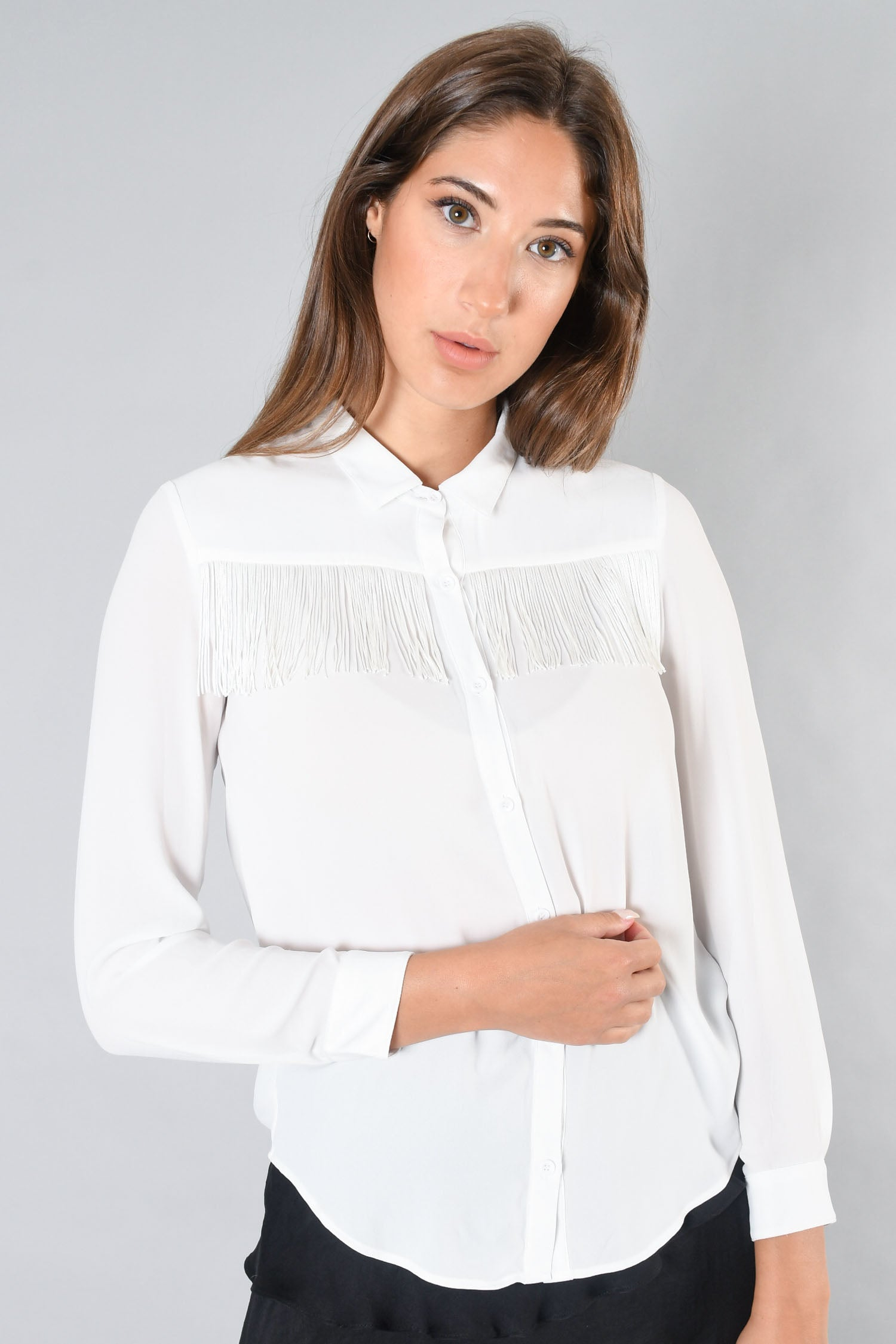 The Kooples White Fringe Button-Up Size S