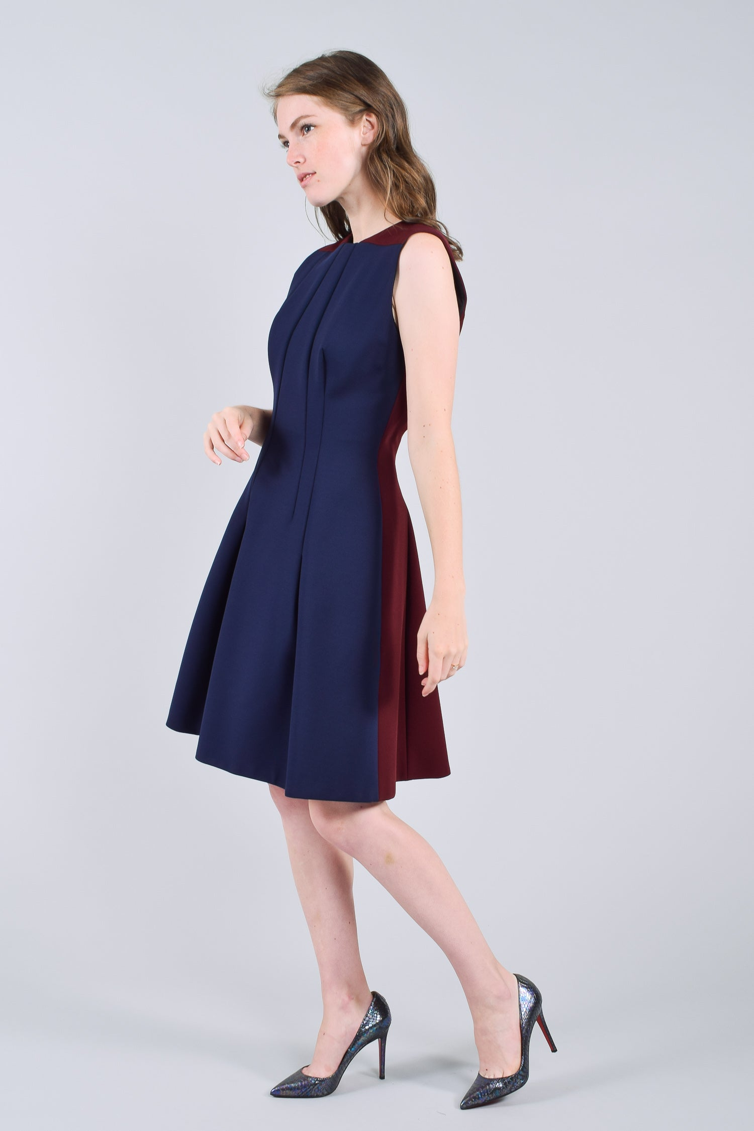 Victoria Beckham Navy and Burgundy A Line Dress Size 10
