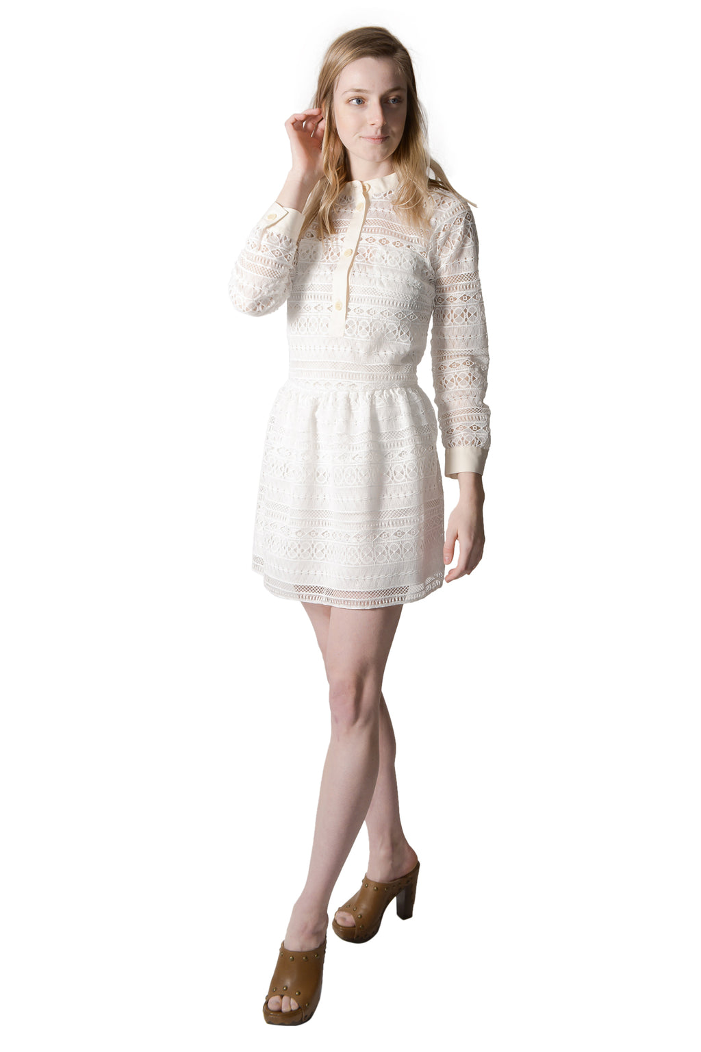RED Valentino White Embroidered Dress Size 40 Retail $1550