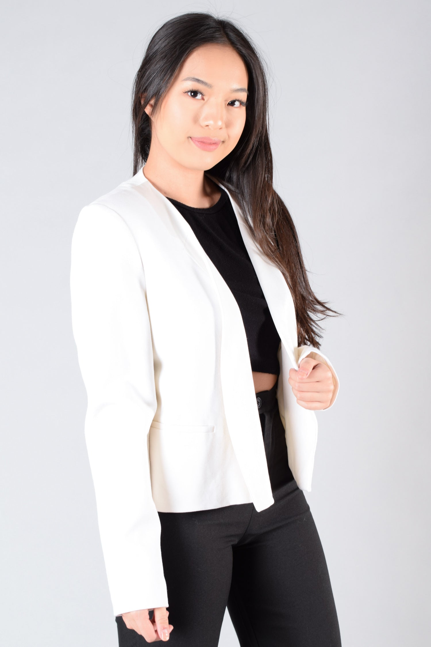 Theory White Satin Lapel Blazer Size 10