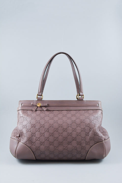 Gucci Purple GG Top Handle Leather Tote