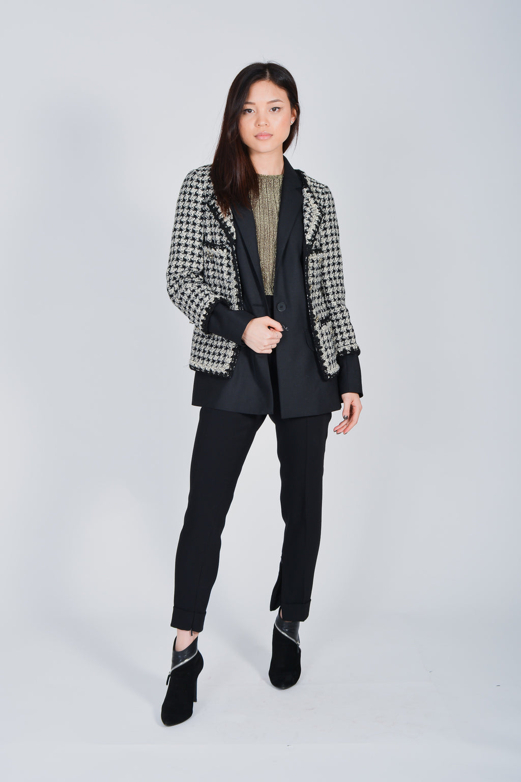 Chanel Tweed Wool/Cashmere Overlay Blazer with Black Wool/Mohair Blazer Size 38