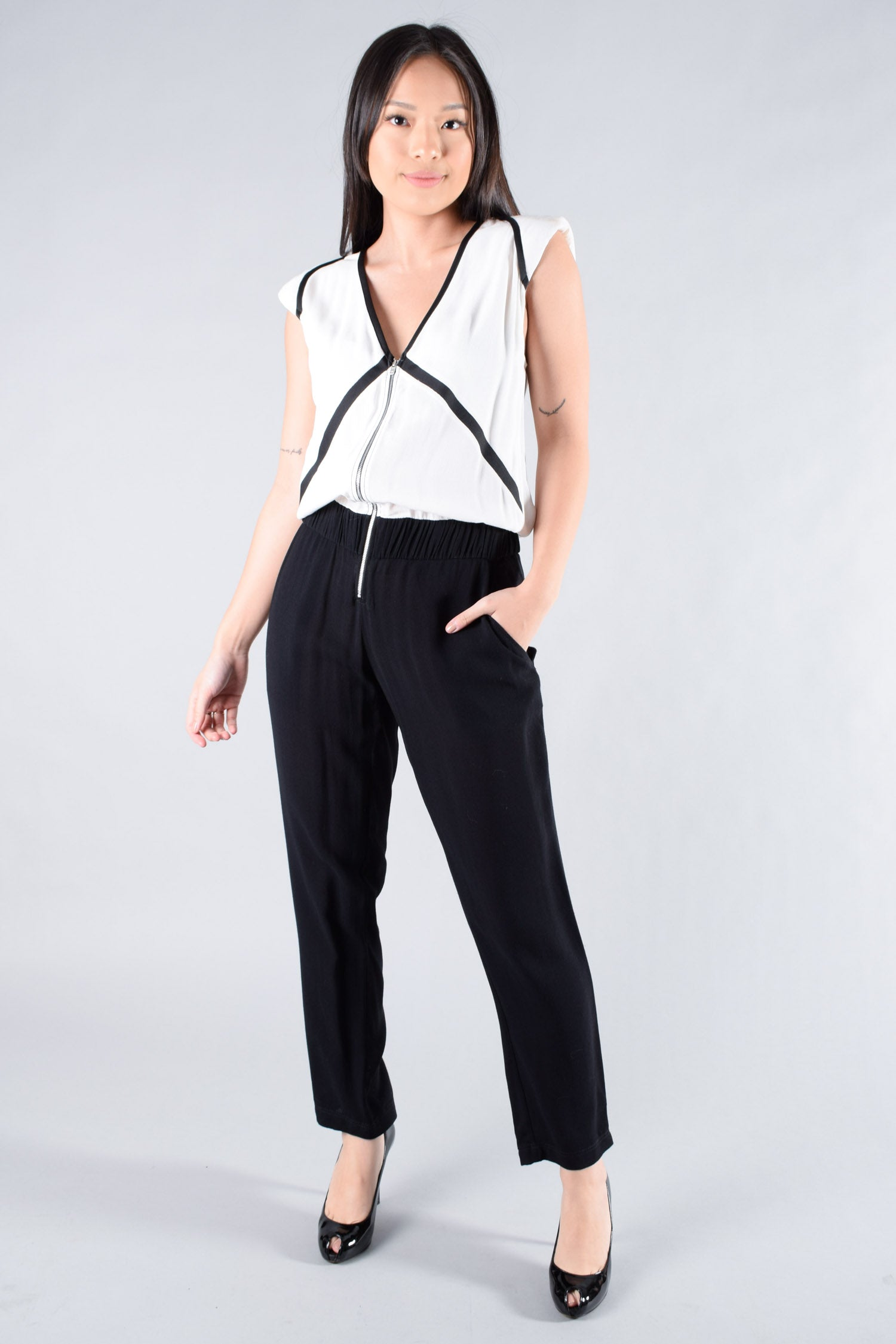 IRO Black and White Jumpsuit Size 38