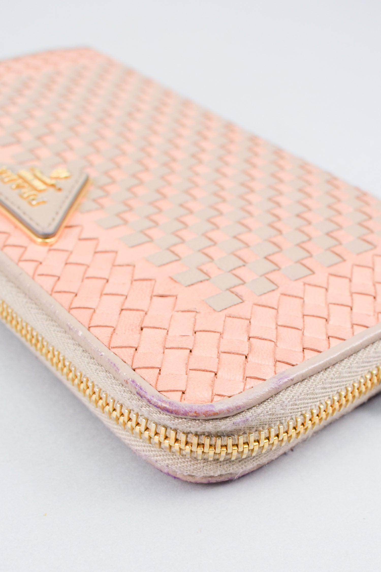 Prada Blush/Grey Leather Woven Zip-around Wallet