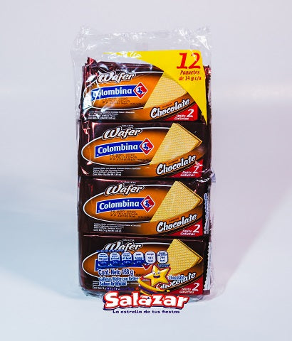 "GALLETA WAFER COLOMBINA CHOCOLATE -B.-168 ""C/36/12"""