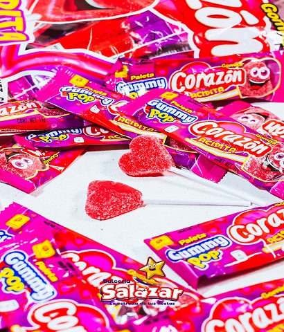 "PALETA GUMMY POP CORAZON DLR B-605GR.- ""C/16/55"""